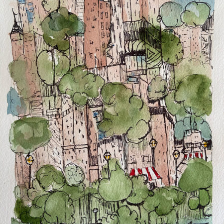 Cityscape with Trees