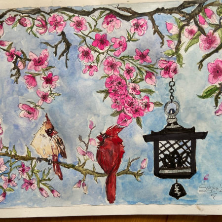 Cherry Blossom with Cardinals